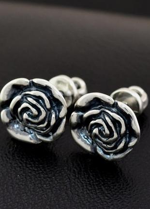 Серьги серебряные розы пусеты  2178