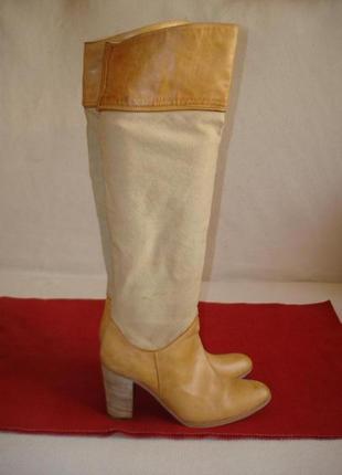 Сапоги ботфорты кожаные демисезонные бренд vero cuoio