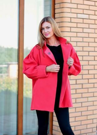 Демисезонное, кашемировое  пальто, полу пальто. размер л, коралловое