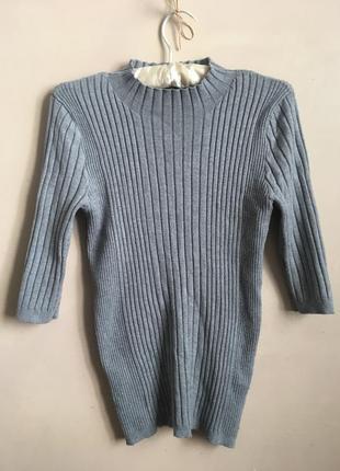 Гольф кофта свитер в рубчик серый
