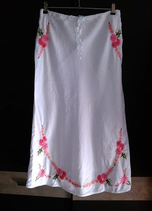 Monsoon белоснежная льняная юбка с вышивкой