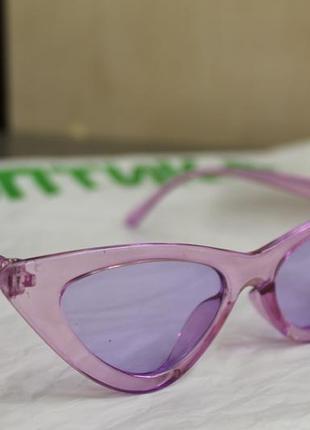 """Солнцезащитные очки """"кошачий глаз"""" имиджевые сиреневые"""