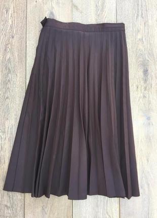 Шоколадная юбка плисе
