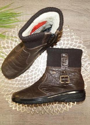 (38/24,5см) rieker tex! кожа! комфортные зимнее ботинки, сапоги на низком ходу