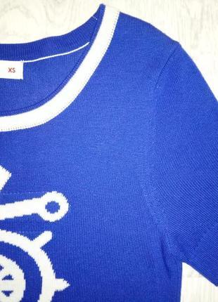 Синяя кофточка gloria jeans теплая футболка вязаная якорь в морском стиле