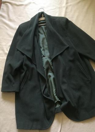 Демисезонное кашемировое пальто oversize, пальто вотерфол оливкового цвета италия
