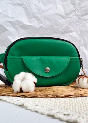 Яркая зеленая поясная сумка бананка из натуральной кожи