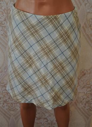 Шерстяная юбка в принт клетка