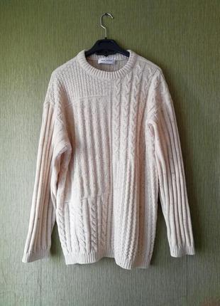 🌿 свитер свободного кроя с косами🌿вязаный джемпер нюдового цвета🌿