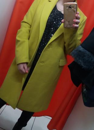 Брендовое лимонное пальто, шикарное демисезонное пальто