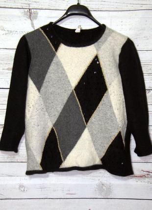 Крутой теплющий короткий свитер из шерсти ангорка. оверсайз