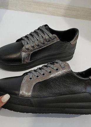 Очень стильные туфли ,кеды с серебром.. натуральная кожа..36-40
