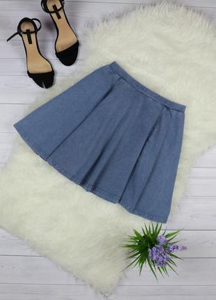 Стильная юбка клеш на резинке под джинс