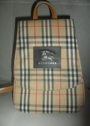 Стильный рюкзак в клетку в стиле burberry ,бежевый с лошадкой