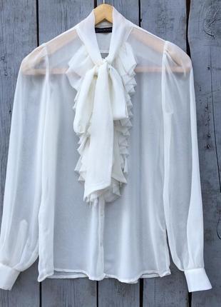 Красивая прозрачная блуза с воланами на груди и бантом ❤️🖤