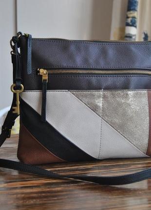 Кожаная сумка кроссбоди fossil / шкіряна сумка