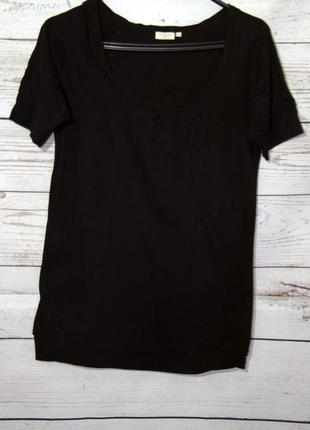Классная черная трикотажная кофта блуза короткий рукав