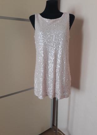 1+1=3 пудровое мини платье в пайетки