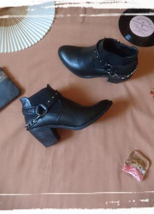 Ботинки деми полусапожки сапоги сапожки осенние на среднем устойчивом каблуке