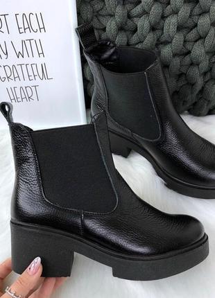 Ботинки, ботильоны черные деми и зима, натуральная кожа, замша 36 по 40 рр