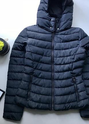 Демисезонная тёплая чёрная куртка дутик / куртка пуховик