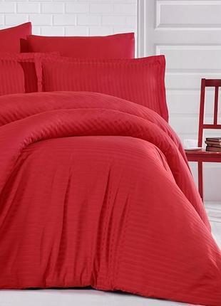 Постельное белье сатин stripe тм aran clasy красный постель
