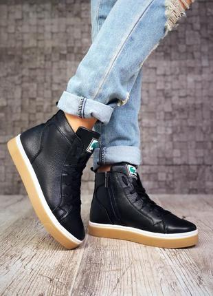 1a6aeea7813e 36-404  Кожаные высокие кеды демисезонные ботинки в стиле lacoste. 36-405