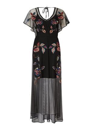 Шикарное макси платье-сетка с вышивкой в цветочный принт