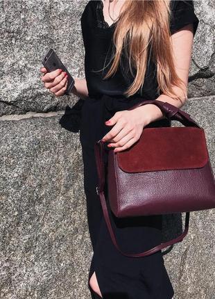 Итальянская бордовая кожаная (кожа/замша) сумка, италия