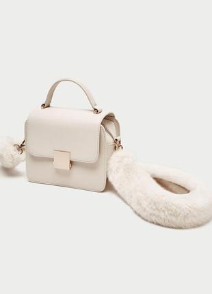 Роскошная кремовая сумка - клатч с меховым ремнем - кроссбоди от zara
