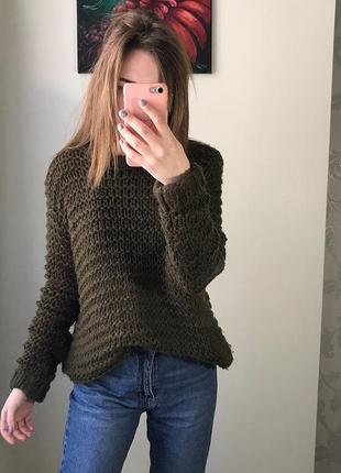Шикарный вязаный свитер, крупной вязки, мягкий, оверсайз