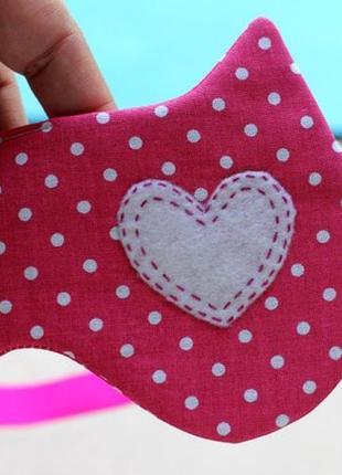 Маска для сна ушки розовая в горошки