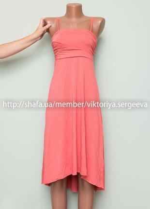 Большой выбор платьев - очень нежное вискозное персиковое платье миди асимметричный низ
