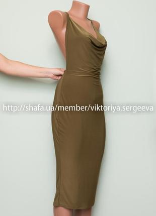 Большой выбор платьев - стильное облегающее платье миди с открытой спинкой