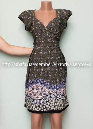 Большой выбор платьев - новое хлопковое платье миди верх на запах