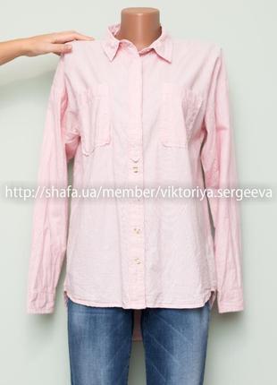 Большой выбор блуз - стильная хлопковая нежно розовая рубашка оверсайз