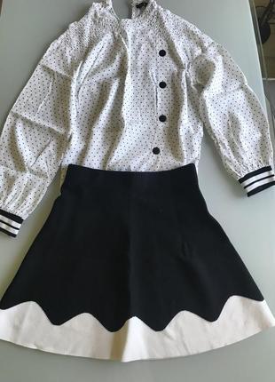 Юбка и блузка в горошек комплект zara 2018
