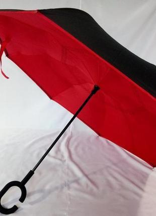 Красный супер зонт обратного сложения с чехлом