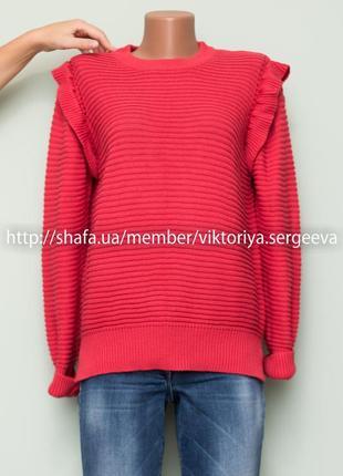 Большой выбор свитеров - теплый красивый нежный свитер с рюшами на плечах
