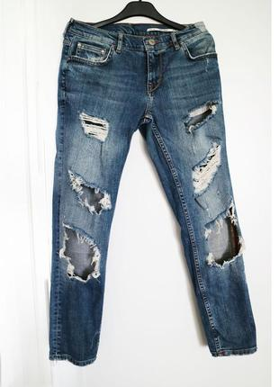 Рваные джинсы boyfriend zara размер 36