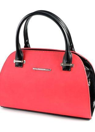Красная женская сумка саквояж небольшая через плечо с черными вставками