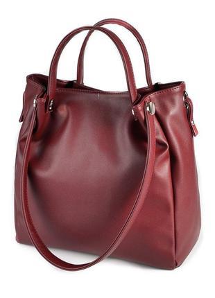 Бордовая сумка шоппер через плечо с комбинированными ручками