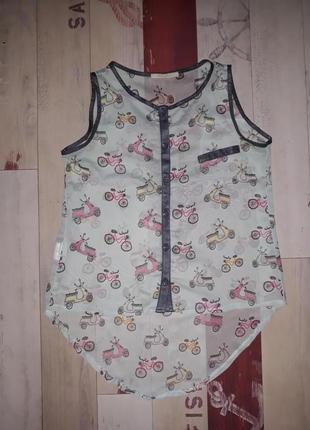 Стильная блуза с мопедами и великами miss poem размер с