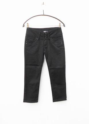 Черные укороченные узкие джинсы  скинни капри бриджи