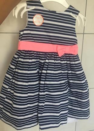 Полосатенькое платье на малышку carter's, полностью новое( с биркой)