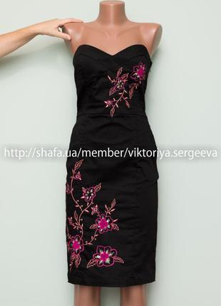 Большой выбор платьев - стильное красивое хлопковое платье миди с вышивкой