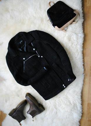 Черное шерстяное пальто , пальто - косуха , пальто бойфренд, демисезонное пальто