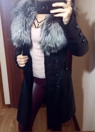 Шикарное кожаное пальто дубленка куртка мех чернобурки тренч с-м