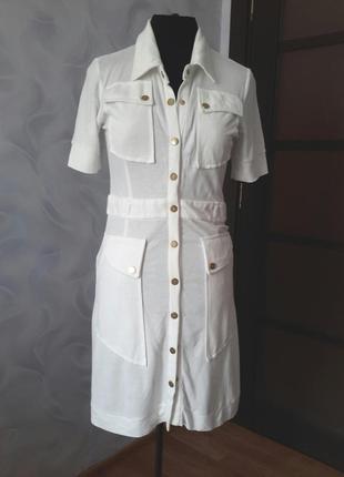 Платье молочного цвета, качественный трикотаж, короткий рукав, м, tory burch