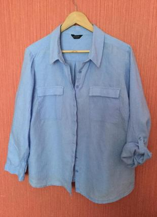 Рубашка большого размера 100% лён
